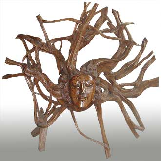 Abstract root wood carving