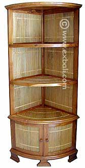 Teak Bamboo Corner Shelf unit