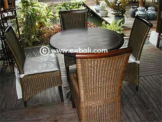 Cane Dining setting with Wooden table
