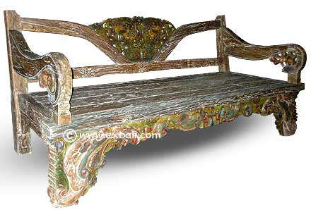 teak bench painted carved