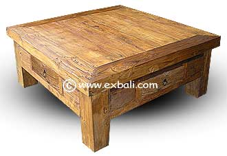 Recycled teak coffee table with drawers