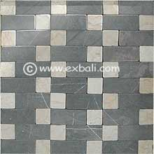 Mosaic stone and natural pebble tile mat production.