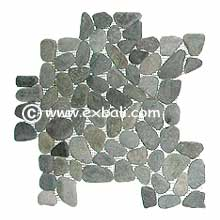 Decorative pebble mesh mosaic stone tiles and products.