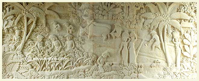 Large stone mural  depicting balinese rural scene