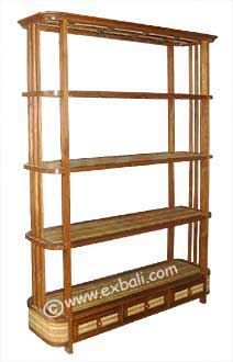 5 tier Teak Bamboo Shelf with 3 drawers