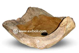 teak tree trunk hand basin